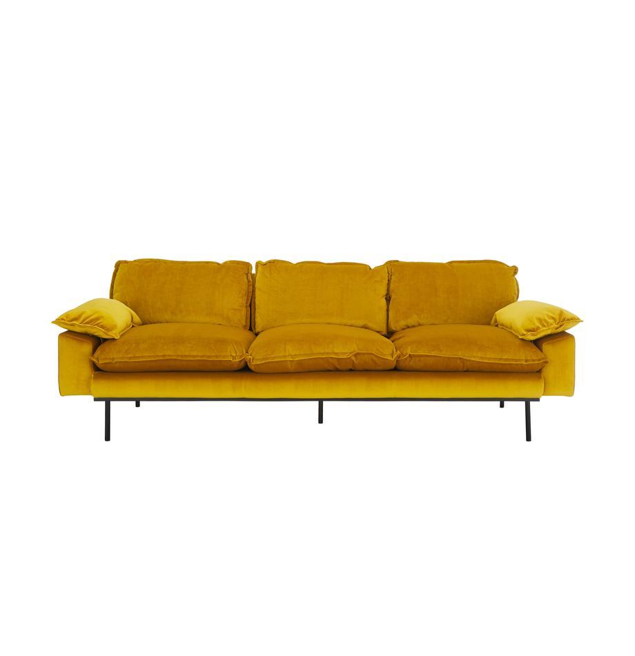 Fluwelen bank Retro (4-zits), Bekleding: polyester fluweel, Frame: MDF, houtvezelplaat, Poten: gepoedercoat metaal, Fluweel okergeel, B 245 x D 83 cm