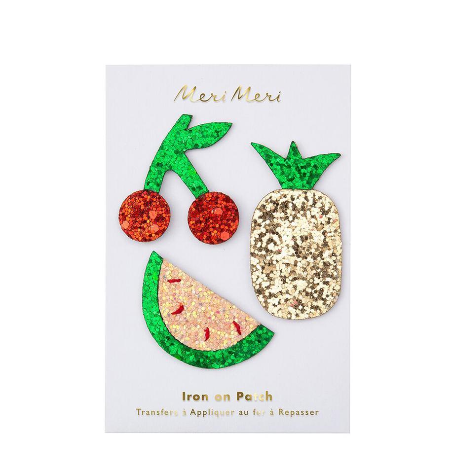 Patch-Set Fruit, 3-tlg., Baumwollcanvas, Grün, Rot, Goldfarben, glänzend, Set mit verschiedenen Grössen