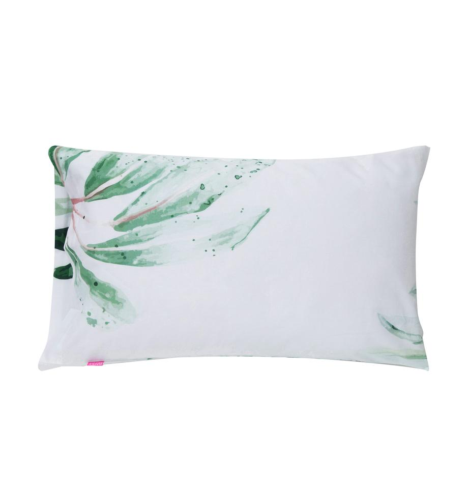 Fundas de almohada Delicate, 2uds., Algodón El algodón da una sensación agradable y suave en la piel, absorbe bien la humedad y es adecuado para personas alérgicas, Blanco, verde, An 50 x L 75 cm