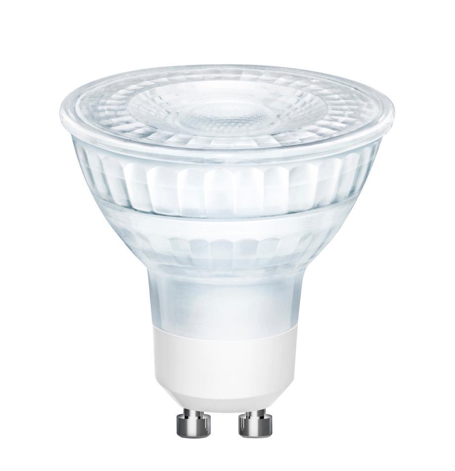 GU10 peertje, 5 watt, dimbaar, warmwit, 1 stuk, Peertje: glas, Fitting: aluminium, Transparant, Ø 5 x H 6 cm
