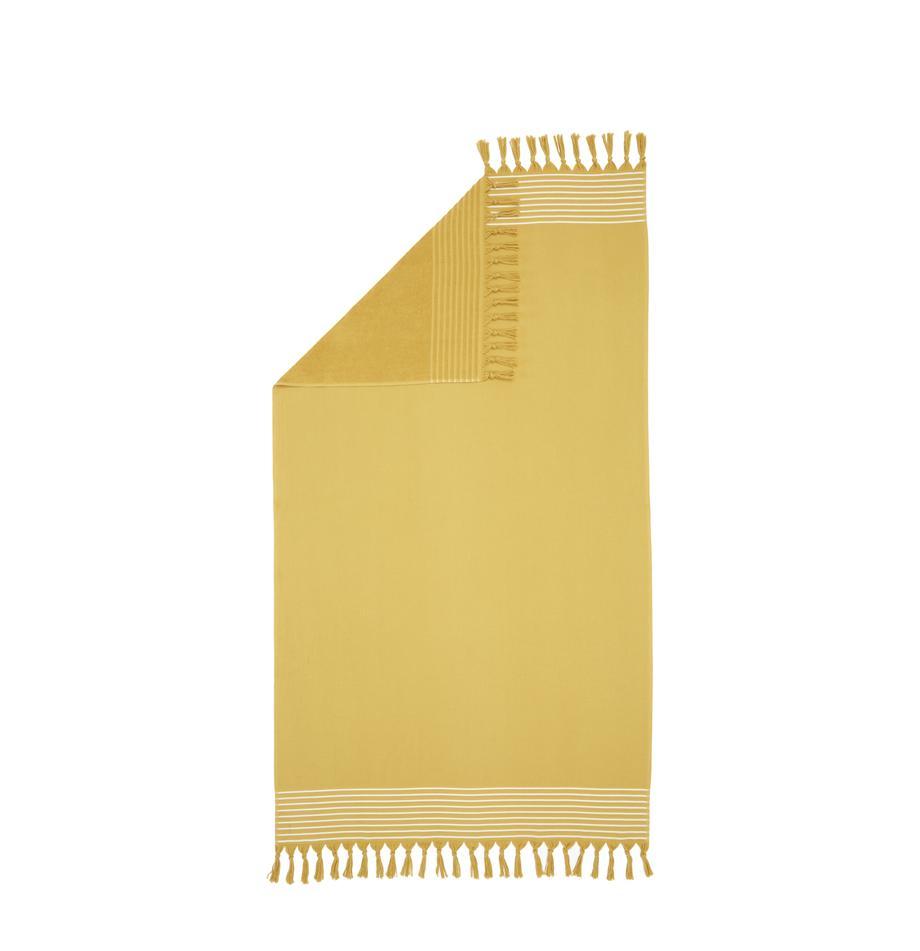 Hamamdoek Freddy met franjes en badstof aan de achterkant, Geel, 100 x 180 cm