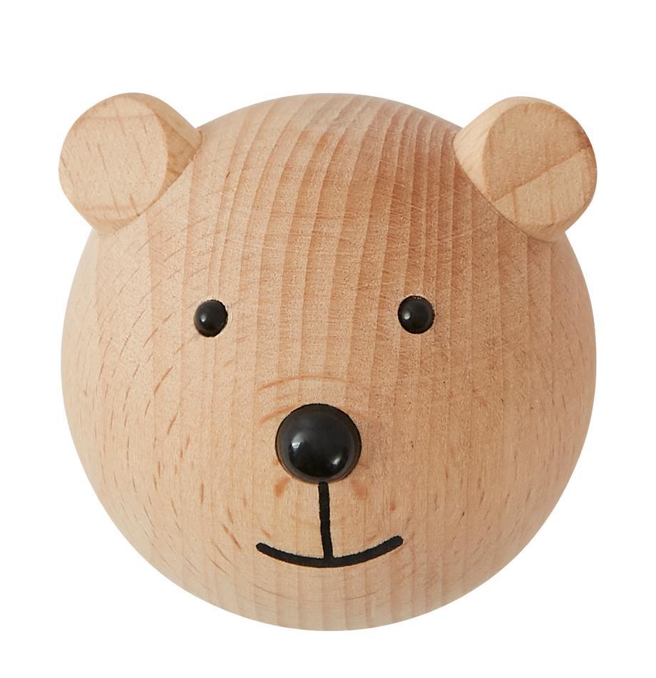 Gancio appendiabiti da parete Bear in legno di faggio, Legno di faggio, Legno, nero, Larg. 5 x Alt. 5 cm