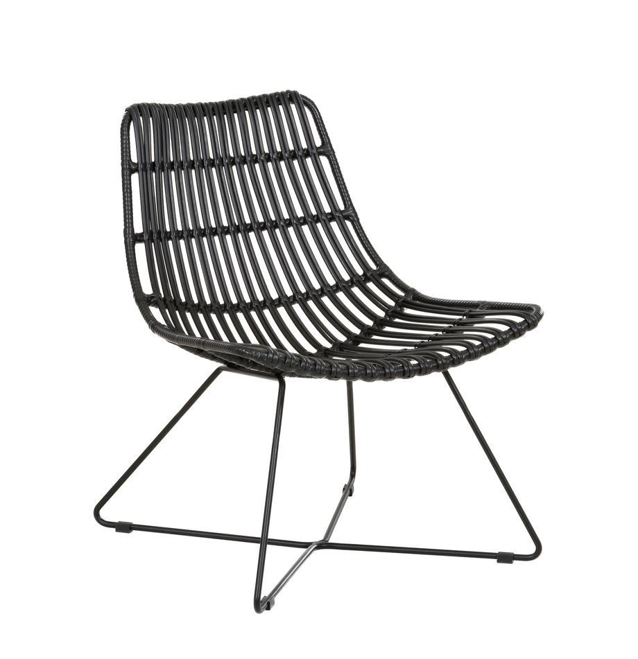 Fauteuil Costa met polyrotan, Zitvlak: polyethyleen-vlechtwerk, Frame: gepoedercoat metaal, Zwart, B 64 x D 64 cm