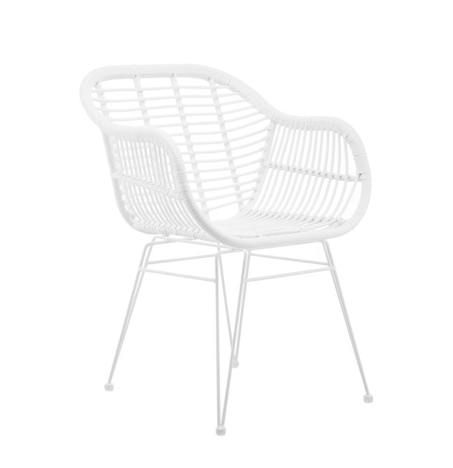 Polyrattan-Armlehnstühle Costa, 2 Stück, Sitzfläche: Polyethylen-Geflecht, Gestell: Metall, pulverbeschichtet, Sitzfläche: WeissGestell: Weiss, matt, B 59 x T 58 cm