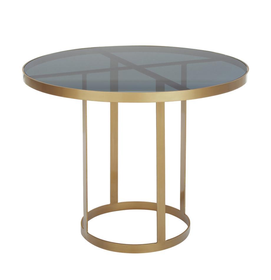 Okrągły stół do jadalni ze szkła Marika, Stelaż: metal lakierowany, Blat: szkło barwione, Odcienie złotego, transparentny, Ø 100 x W 76 cm