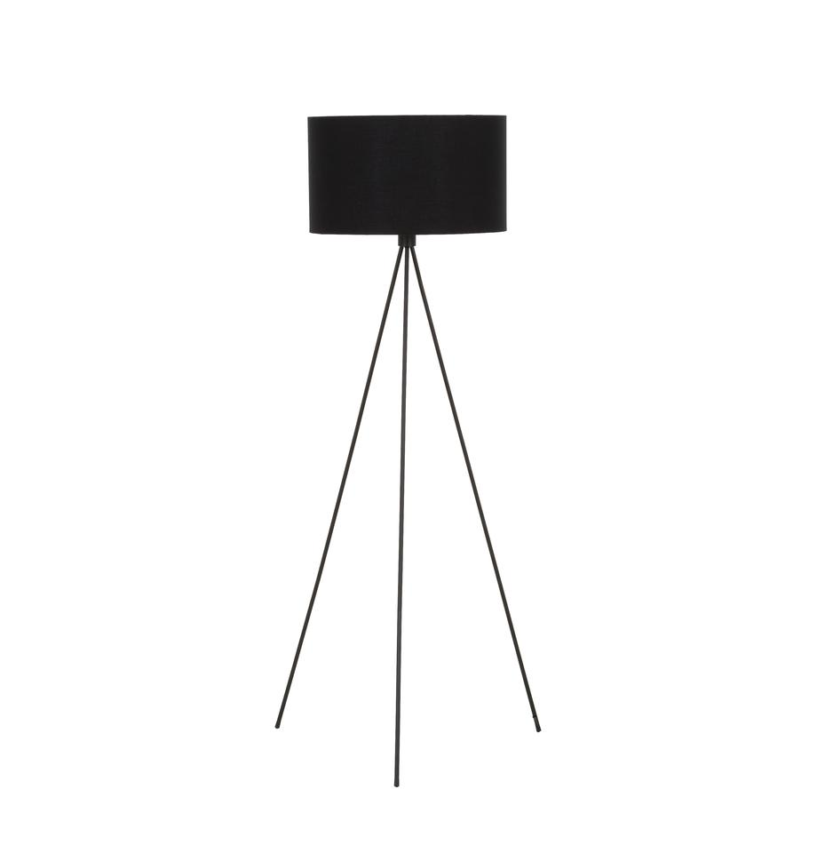 Lámpara de pie tripode Cella, Pantalla: mezcla de algodón, Cable: plástico, Negro, Ø 45 x Al 147 cm