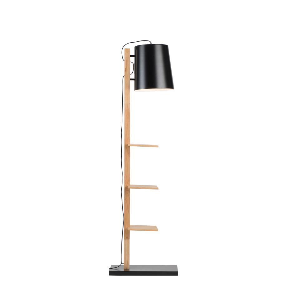 Stehlampe Cambridge aus Holz mit Ablage, Lampenschirm: Metall, pulverbeschichtet, Gestell: Holz, Lampenfuß: Metall, pulverbeschichtet, Schwarz, Holz, 38 x 168 cm