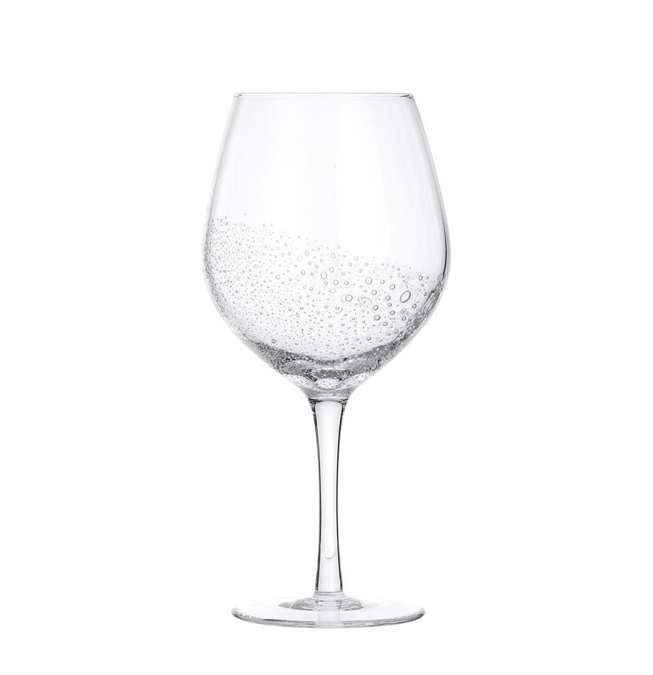 Mundgeblasene Rotweingläser Bubble mit Lufteinschlüssen, 4er-Set, Glas, mundgeblasen, Transparent mit Lufteinschlüssen, Ø 10 x H 22 cm