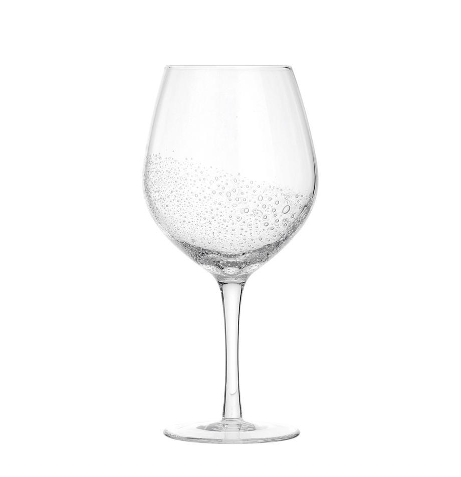 Bicchiere da vino rosso in vetro soffiato Bubble 4 pz, Vetro, gonfiabile, Trasparente con bolle d'aria, Ø 10 x Alt. 22 cm