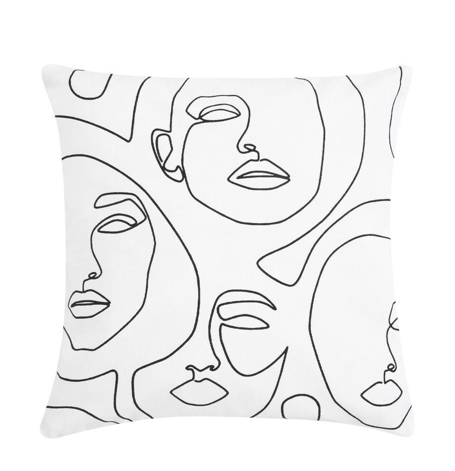 Federa arredo con disegno astratto Aria, Bianco, nero, Larg. 40 x Lung. 40 cm