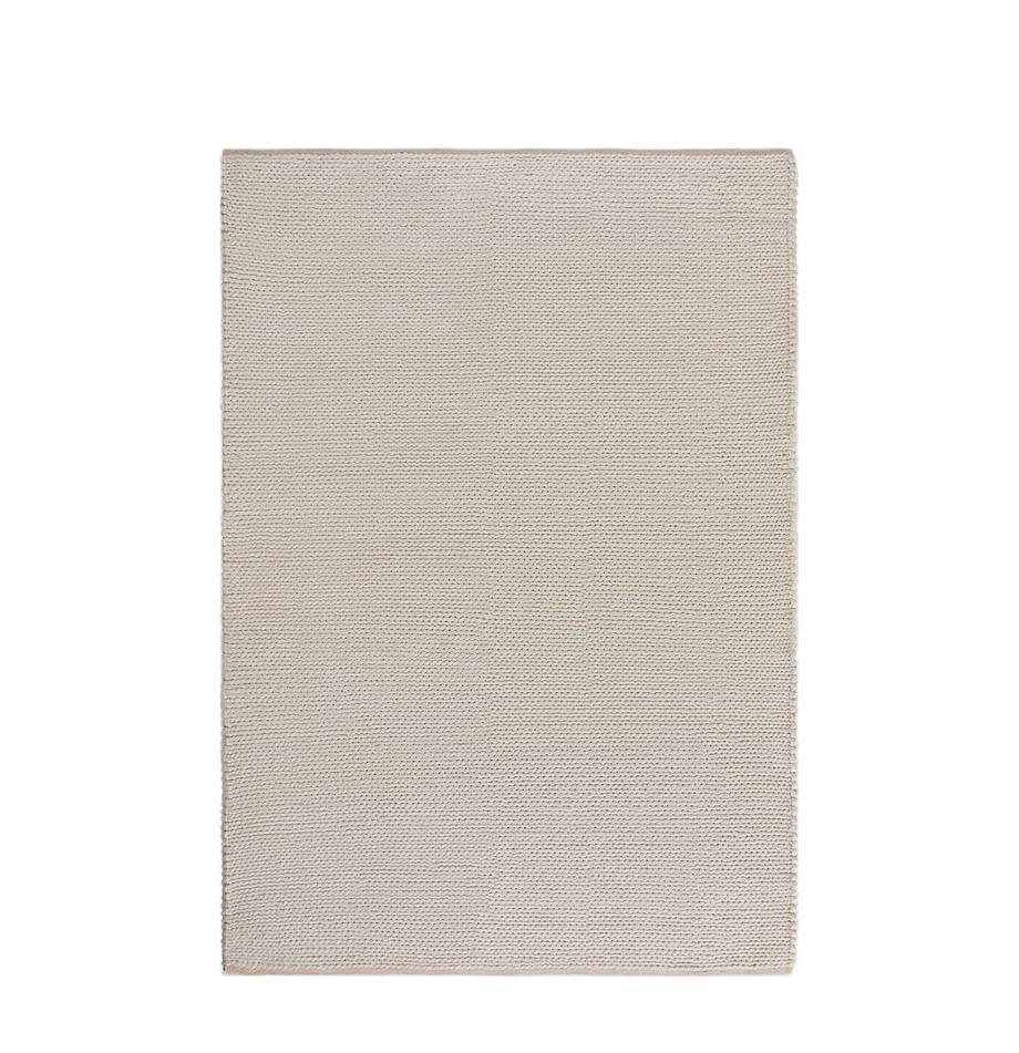 Handgeweven wollen vloerkleed Uno in crèmekleur met gevlochten structuur, Bovenzijde: 60% wol, 40% polyester, Onderzijde: katoen, Crèmekleurig, B 120 x L 170 cm (maat S)