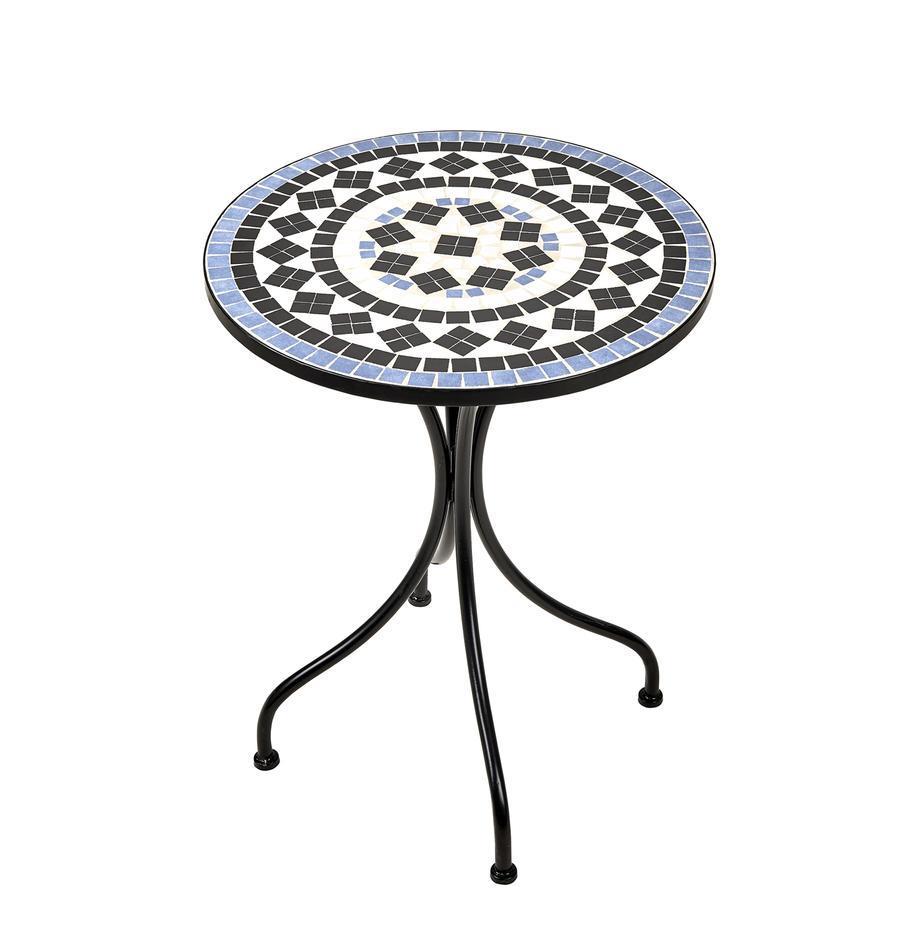 Mesa de jardín Palazzo, Tablero: piedras de cerámica en mo, Patas: metal con pintura en polv, Negro, azul, blanco, Ø 55 x Al 71 cm