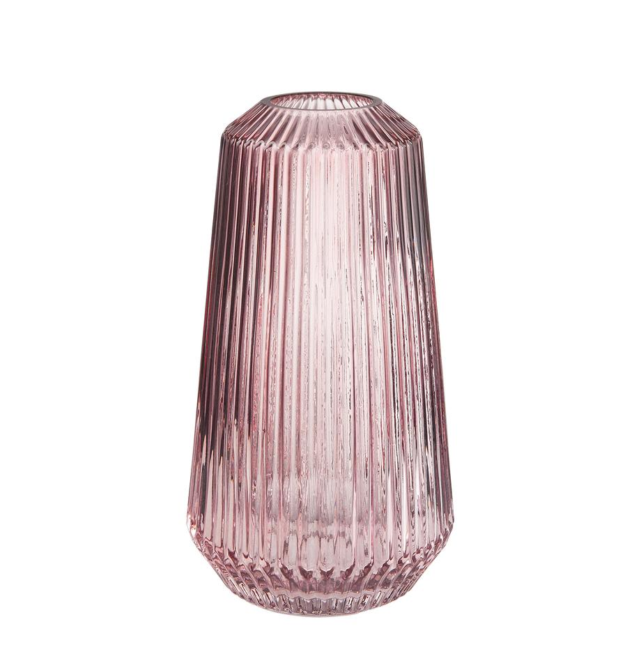 Glas-Vase Lily, Glas, Rosa, Transparent, Ø 14 x H 25 cm
