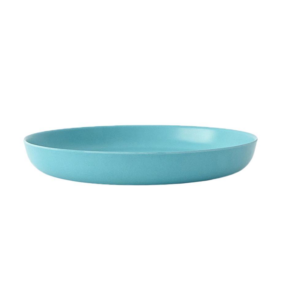 Plato postre Bambino, 2uds., Fibras de bambú, melamina, apto para alimentos Libre de BPA, PVC y ftalatos, Turquesa, Ø 18 x Al 3 cm