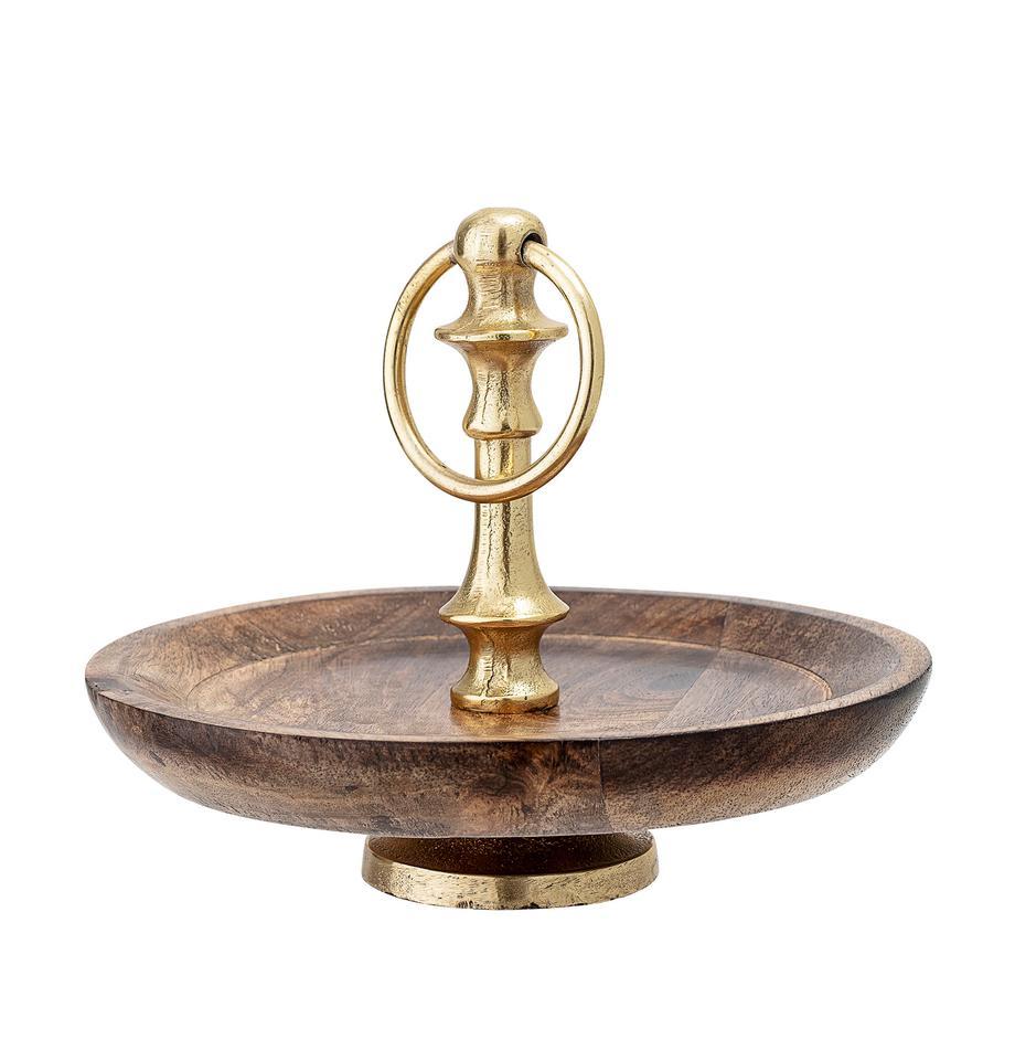 Etagere Carina, Ø 20 cm, Ablagefläche: Mangoholz, Stange: Metall, beschichtet, Mangoholz, Ø 20 x H 16 cm