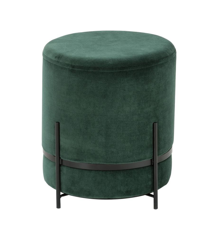Puf de terciopelo Haven, Tapizado: terciopelo de algodón, Patas: metal con pintura en polv, Verde oscuro, negro, Ø 38 x Al 45 cm