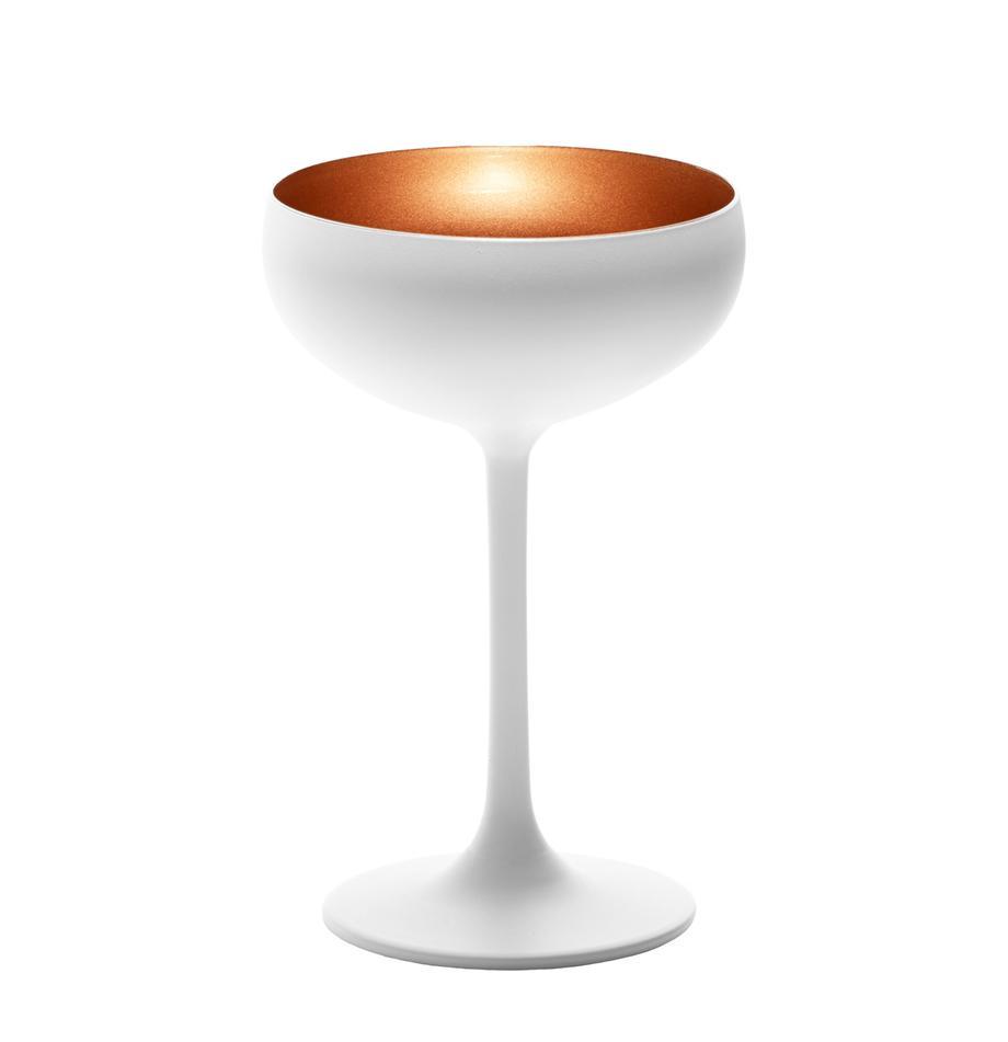 Kryształowy kieliszek do szampana Elements, 6 szt., Szkło kryształowe, powlekane, Biały, odcienie brązowego, Ø 10 x W 15 cm
