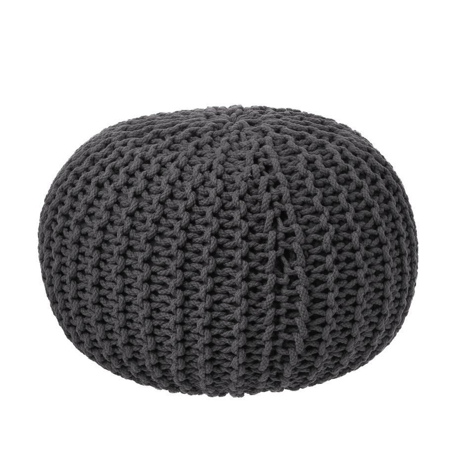 Pouf in maglia fatto a mano Dori, Rivestimento: 100% cotone, Grigio scuro, Ø 55 x Alt. 35 cm