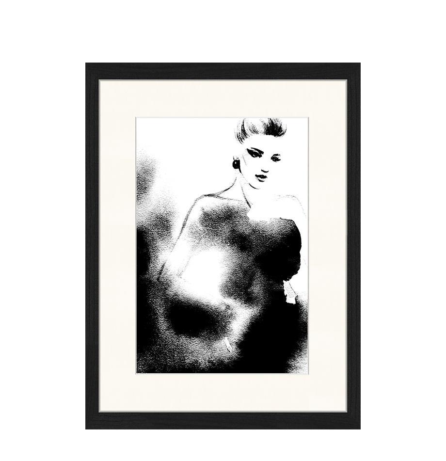 Ingelijste digitale print Fashion, Afbeelding: digitale print op papier,, Lijst: gelakt hout, Zwart, wit, 33 x 43 cm