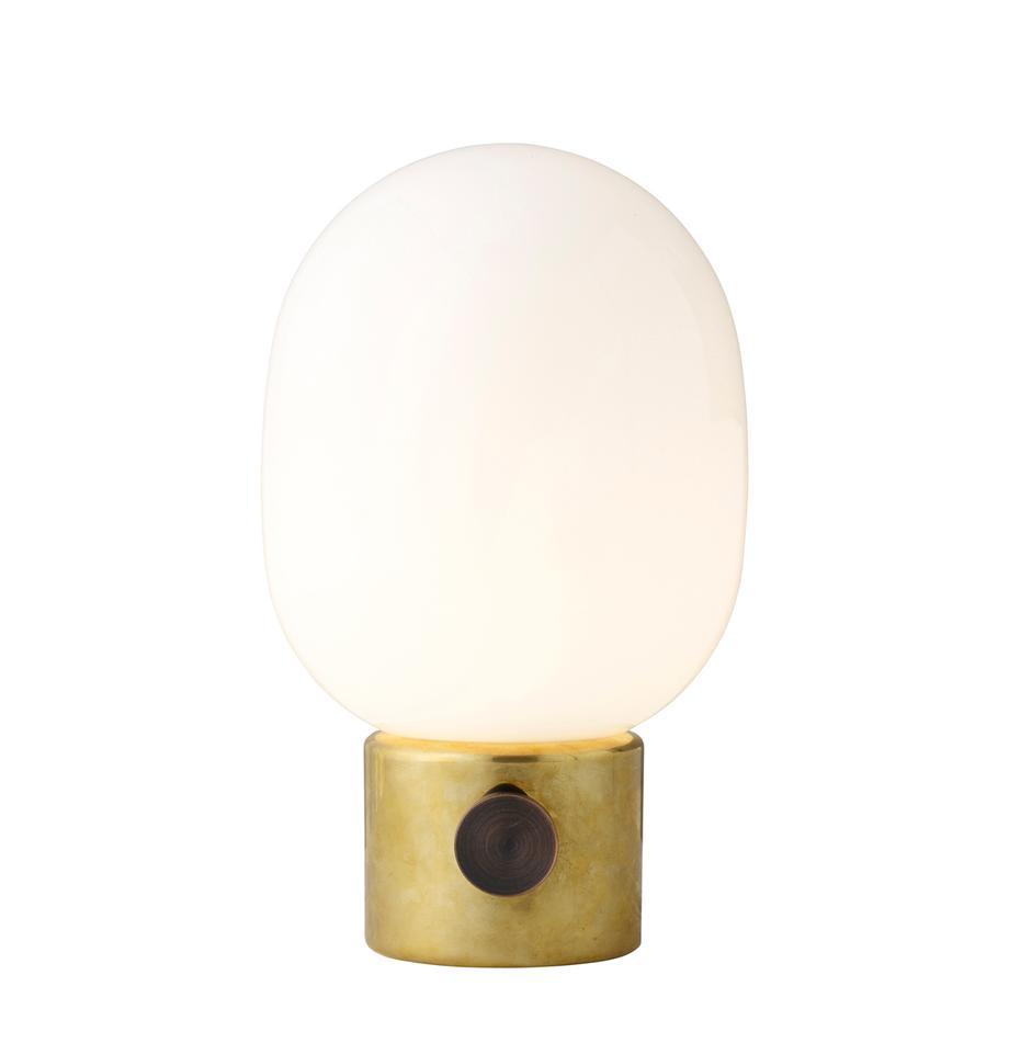 Dimmbare Nachttischlampe Mine aus Glas, Lampenschirm: Glas, Lampenfuss: Messing, Stahl, poliert<br>Lampenschirm: Weiss, Ø 17 x H 29 cm