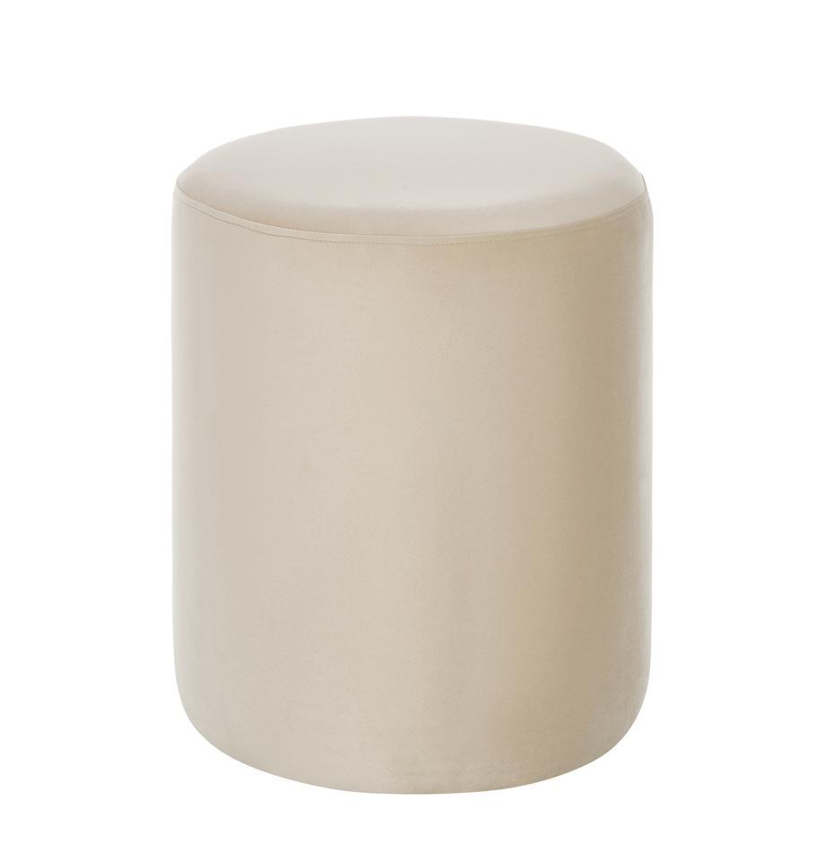 Puf de terciopelo Daisy, Tapizado: terciopelo (poliéster) Al, Estructura: tablero de fibras de dens, Terciopelo beige, Ø 38 x Al 45 cm