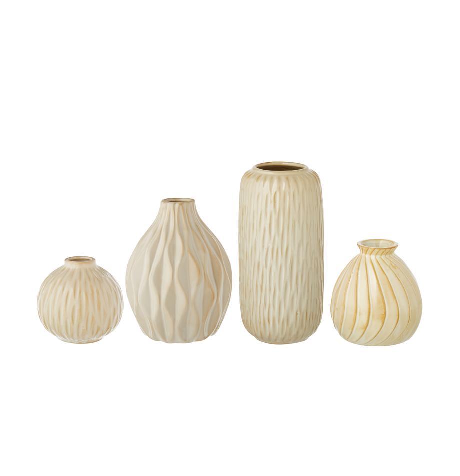 Vasen-Set Zalina aus Porzellan, 4-tlg., Porzellan, Creme, Beige, Sondergrößen
