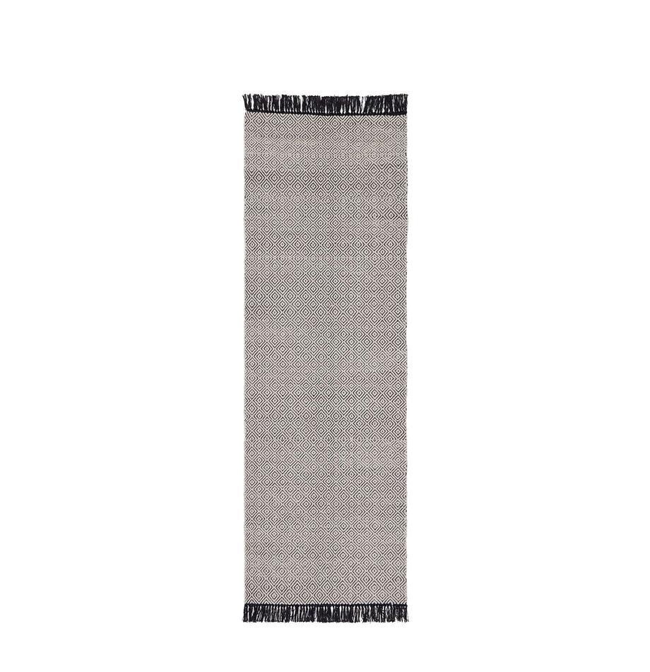 Läufer Todos mit grafischem Muster, 40% Baumwolle, 30% Wolle, 30% Polyester, Greige, 80 x 250 cm
