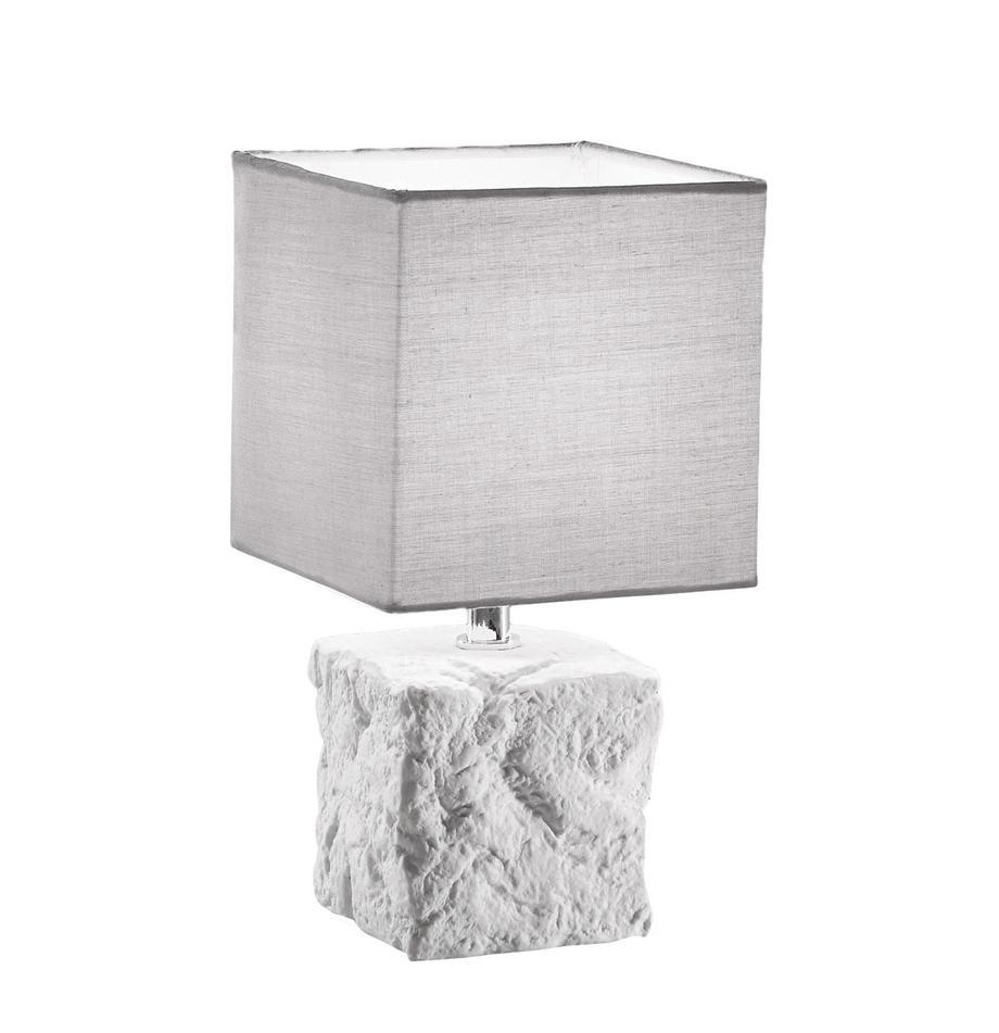 Lampa stołowa z ceramiki Adda, Biały, jasny szary, Ø 15 x W 29 cm
