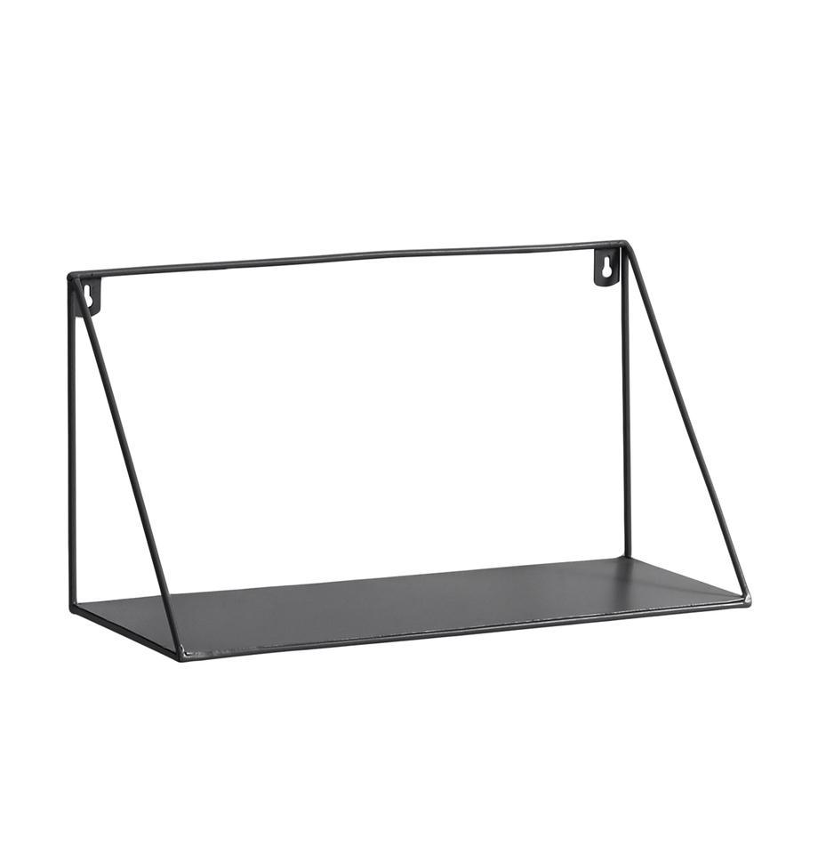 Metall-Wandregal Teg in Schwarz, Metall, lackiert, Schwarz, 40 x 20 cm