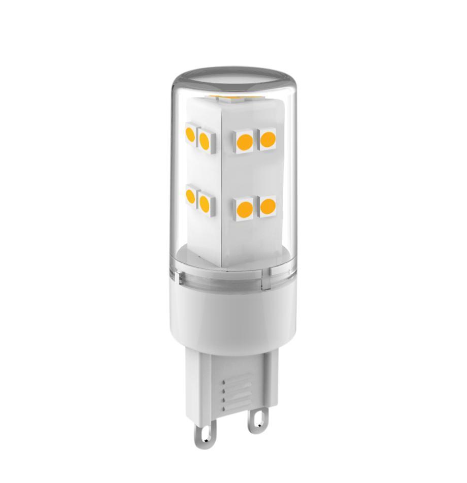 G9 peertje, 3.3 watt, neutraal wit, 1 stuk, Lampenkap: glas, Fitting: aluminium, Transparant, Ø 2 x H 6 cm