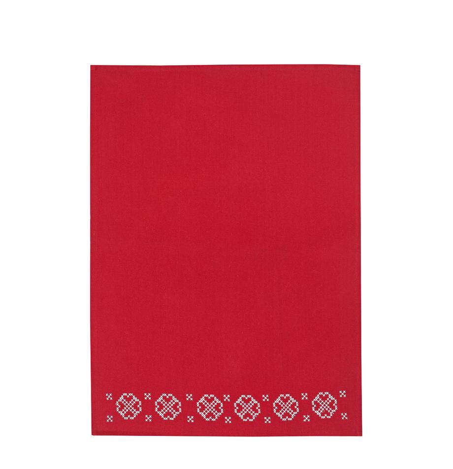 Geschirrtuch Embroidery mit winterlichem Motiv, Baumwolle, Rot, Weiß, 50 x 70 cm
