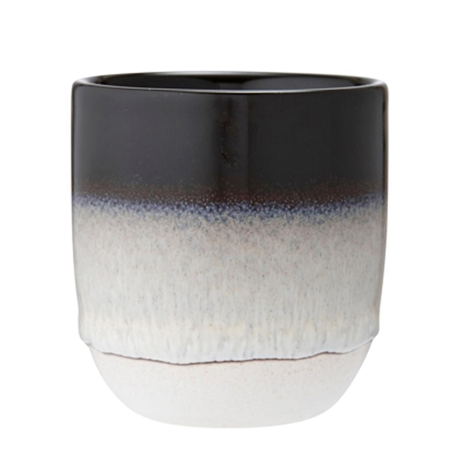 Tazza senza manico con gradiente Café 4 pz, Gres, Nero, Ø 8 x Alt. 9 cm