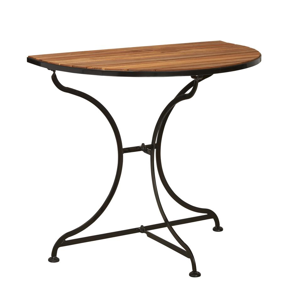 Półokrągły stół balkonowy z drewnianym blatem Parklife, Blat: drewno akacjowe, olejowan, Stelaż: metal ocynkowany, malowan, Stelaż: czarny, matowy Korpus: drewno akacjowe, S 85 x W 75 cm