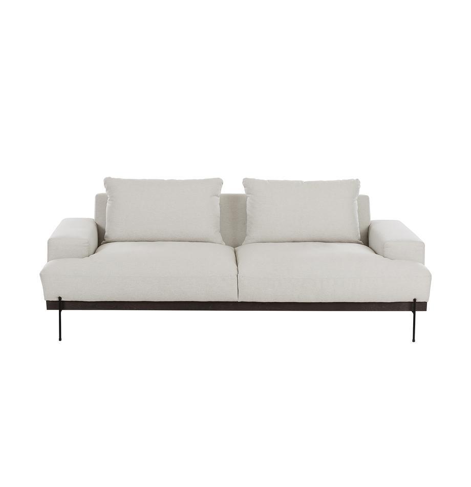 Sofa Brooks (3-Sitzer) in Beige mit Metall-Füssen, Bezug: Polyester 35.000 Scheuert, Gestell: Kiefernholz, massiv, Rahmen: Kiefernholz, lackiert, Webstoff Beige, B 230 x T 98 cm