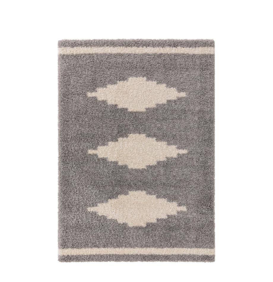Hochflor-Teppich Selma mit grafischem Muster, 100% Polypropylen, Grau, Hellbeige, B 200 x L 290 cm (Größe L)
