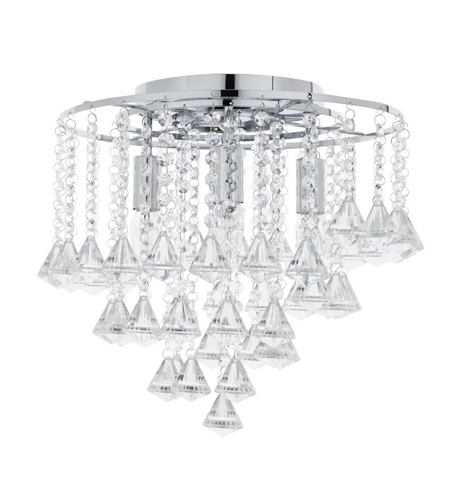 Deckenleuchte Dorchester mit Glaskristallen, Baldachin: Metall, verchromt, Transparent, Chrom, Ø 40 x H 36 cm