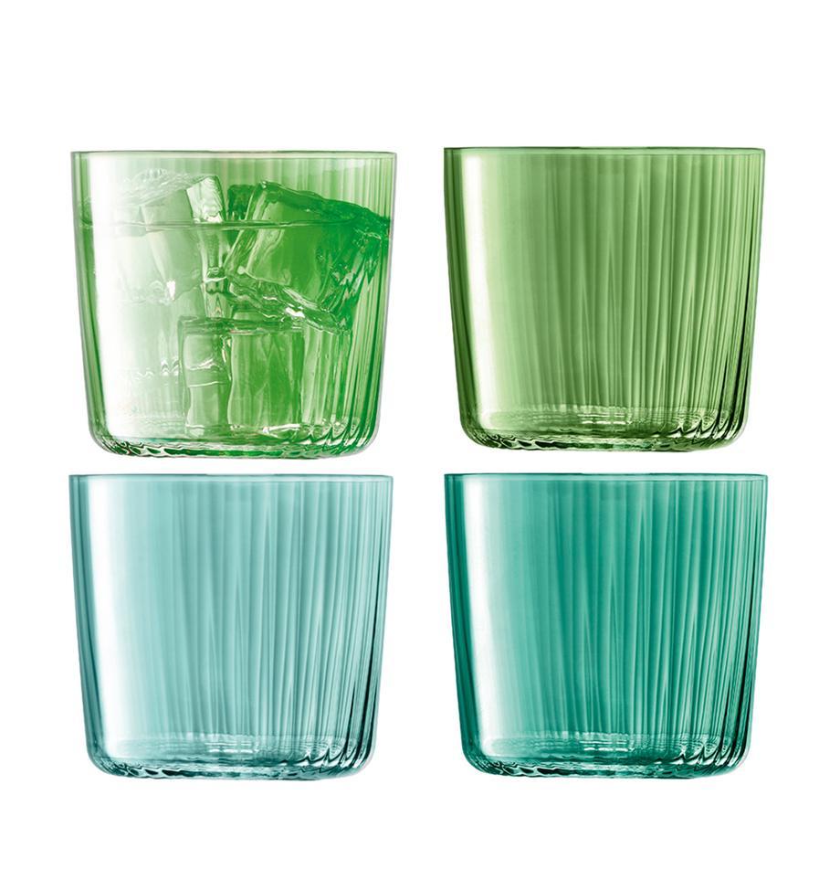 Komplet szklanek do wody ze szkła dmuchanego Gems, 4 elem., Szkło dmuchane, Odcienie zielonego, Ø 8 x W 7 cm