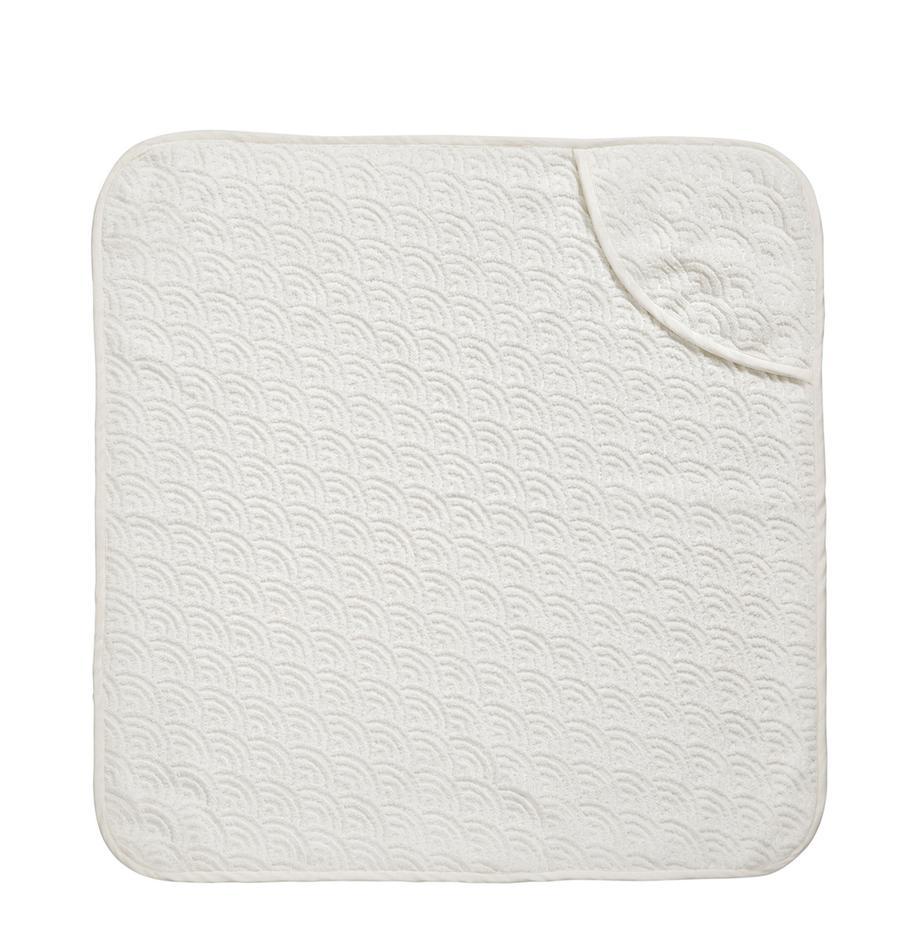 Ręcznik kąpielowy dla dzieci  z bawełny organicznej Wave, 100% bawełna organiczna, Złamana biel, S 80 x D 80 cm