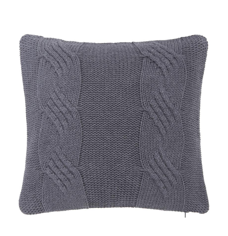 Federa arredo fatta a maglia con motivo a rilievo Jonah, 100% cotone, Grigio scuro, Larg. 40 x Lung. 40 cm