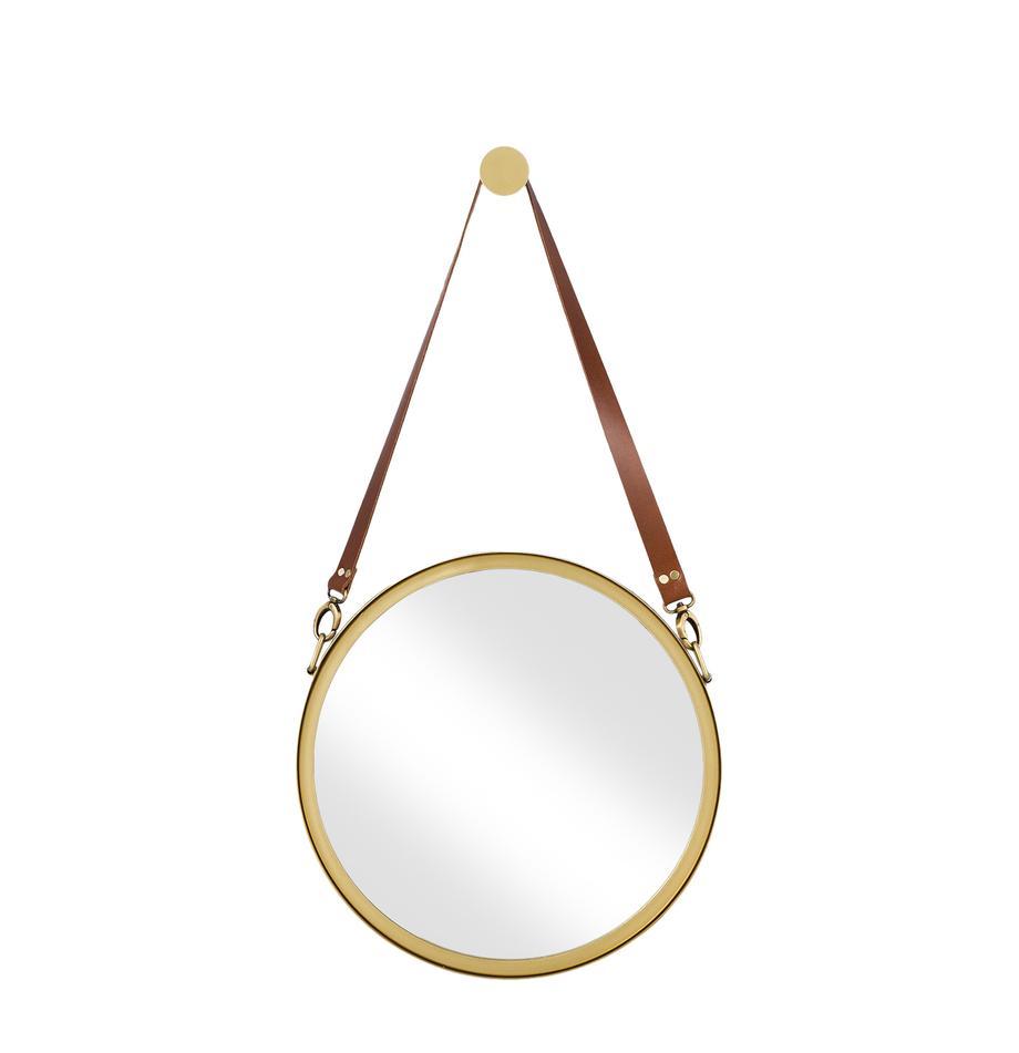 Ronde wandspiegel Liz met bruine leren ophangband, Goudkleurig, Ø 40 cm