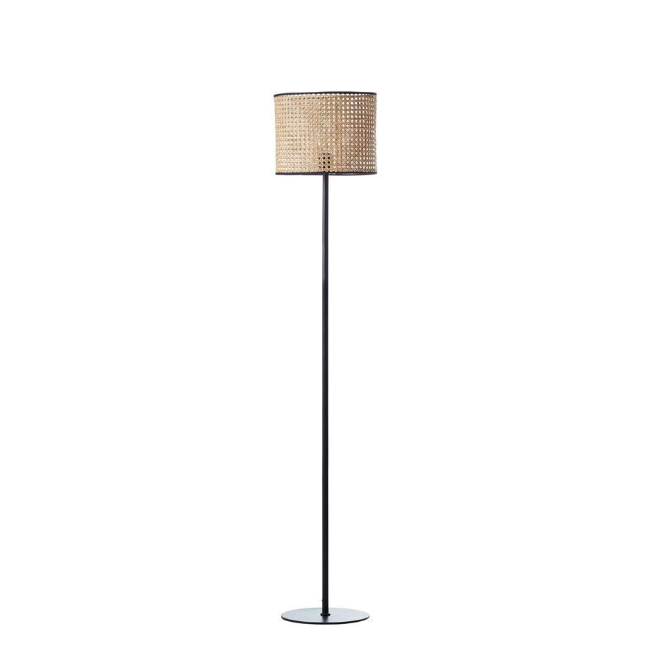 Stehlampe Wiley mit Rattanschirm, Lampenschirm: Rattan, Lampenfuß: Metall, Rattan, Schwarz, Ø 30 x H 154 cm