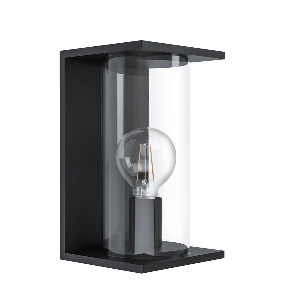 Aussenwandleuchte Cascinetta mit Glasschirm, Lampenschirm: Glas, Schwarz, Transparent, 17 x 28 cm