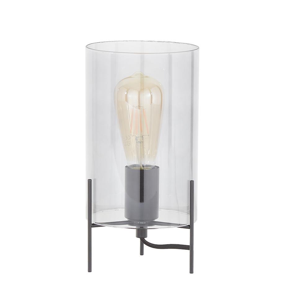 Lampada da tavolo in vetro Laurel, Base della lampada: metallo verniciato a polv, Paralume: vetro, Paralume: grigio trasparente Base della lampada: nero opaco Cavo: trasparente, Ø 14 x Alt. 28 cm
