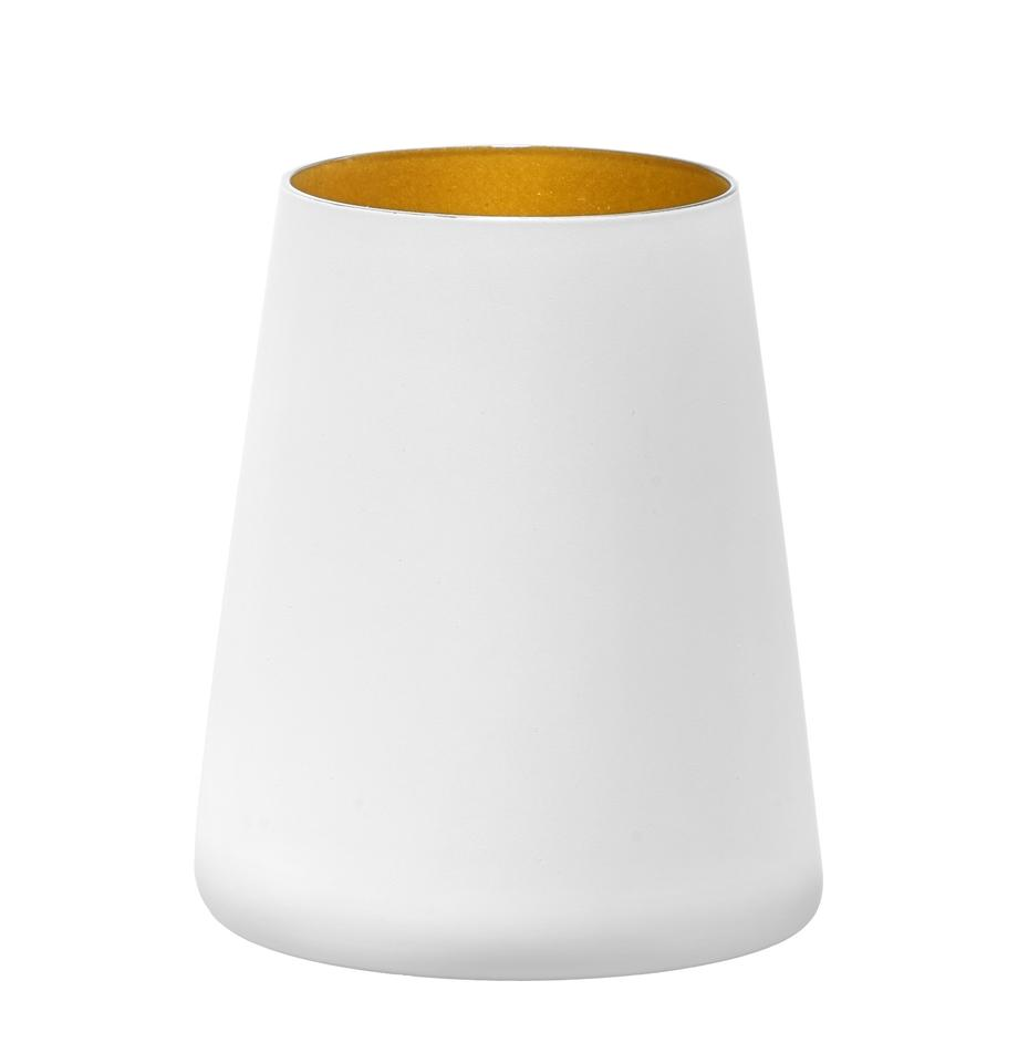 Kristallen cocktailglazenset Power, 6-delig, Gecoat kristalglas, Wit, goudkleurig, Ø 9 x H 10 cm