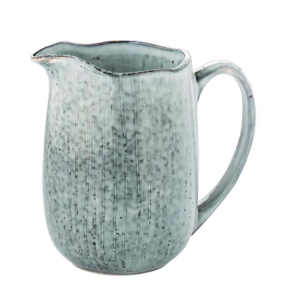 Handgemachter Milchkrug Nordic Sea aus Steingut, Steingut, Grau- und Blautöne, 17 x 16 cm