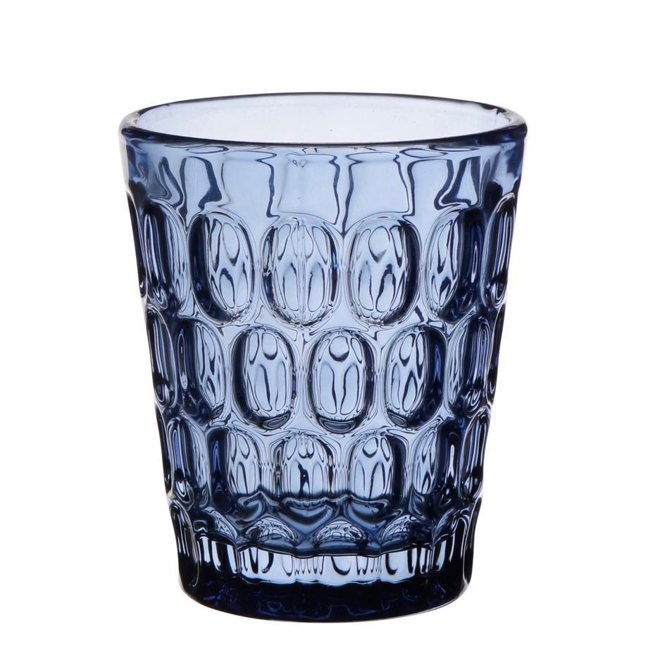 Vasos resistentes con relieve Optic, 6uds., Vidrio, Transparente, azul, 250 ml