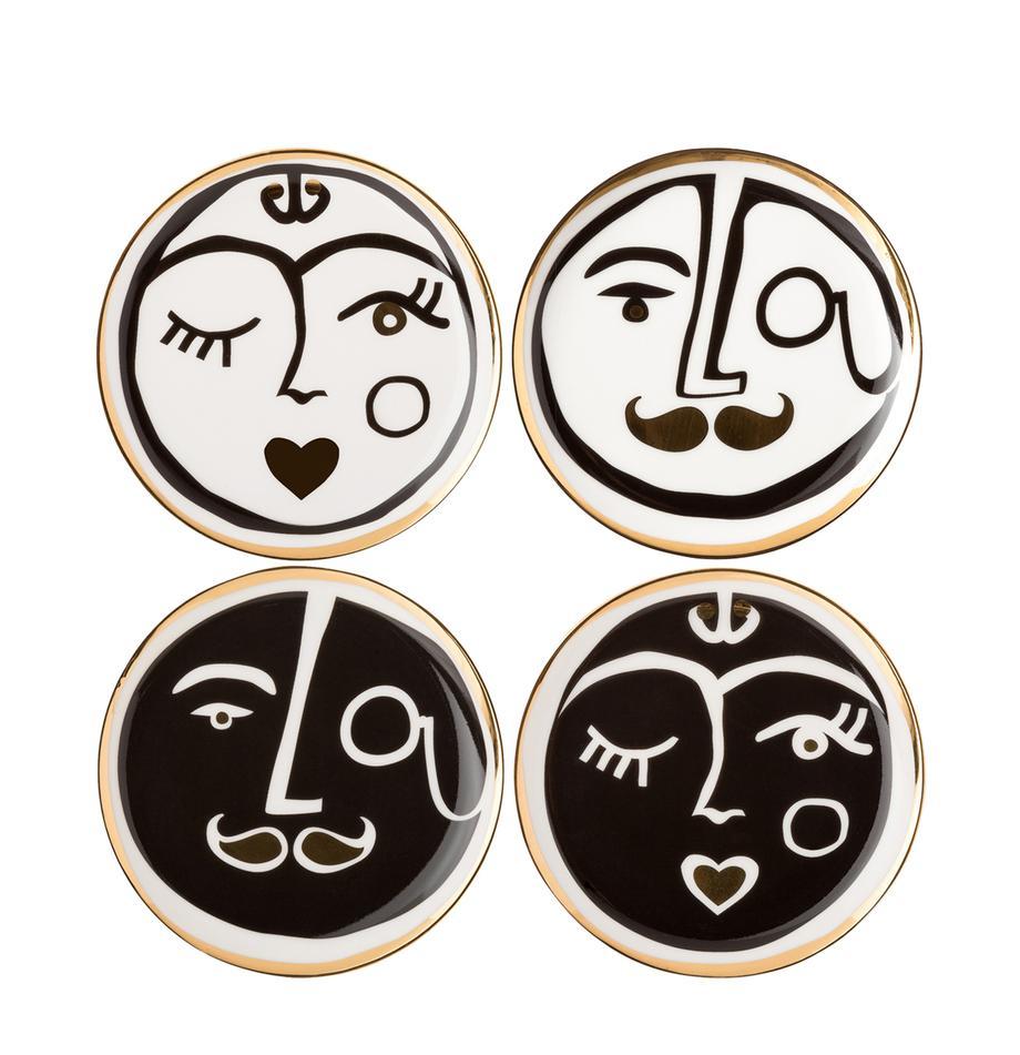 Designer-Untersetzer-Set Gentlemen, 4-tlg., Porzellan, Goldfarben, Schwarz, Weiß, Ø 10 cm