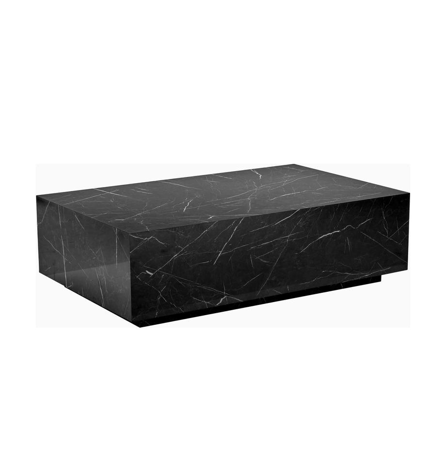 Mesa de centro en aspecto mármol Lesley, Tablero de fibras de densidad media(MDF) recubierto en melanina, Mármol negro brillante, An 120 x Al 35 cm