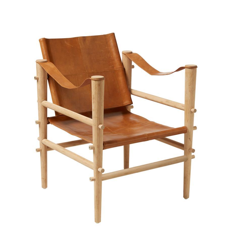 Fotel ze skóry Noble, Drewno bambusowe, jasny brązowy, S 61 x G 59 cm