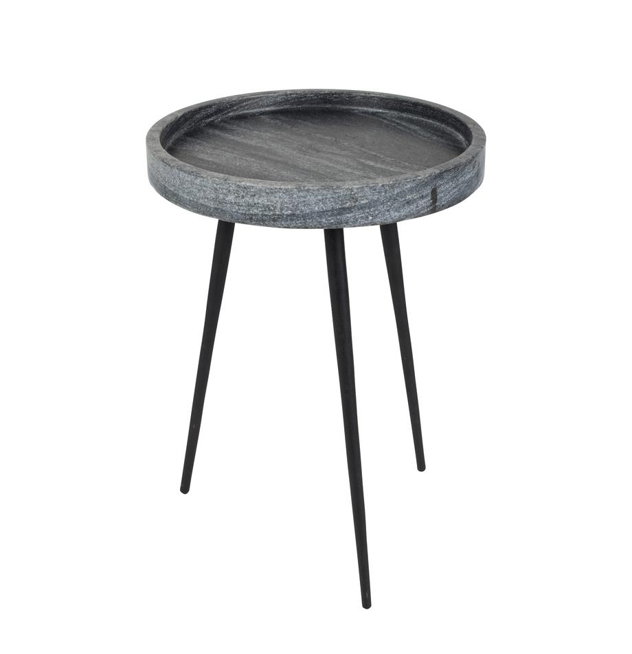 Tavolino rotondo in marmo Karrara, Piano del tavolo: marmo, Gambe: metallo verniciato a polv, Grigio, nero, Ø 33 x Alt. 45 cm